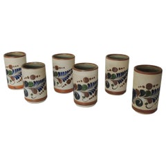 Set of Six (6) Round Mexican Talavera Drinking Glasses