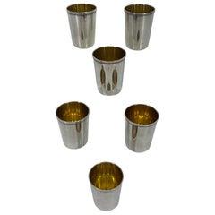 Set of 6 Russian Soviet-Era Vermeil Gilded Silver Vodka Cups or Beakers