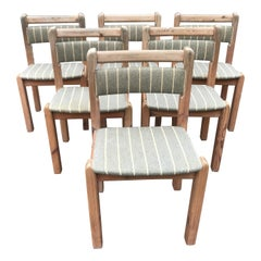 Set of 6 Rustic Dinning Chairs from 1970s