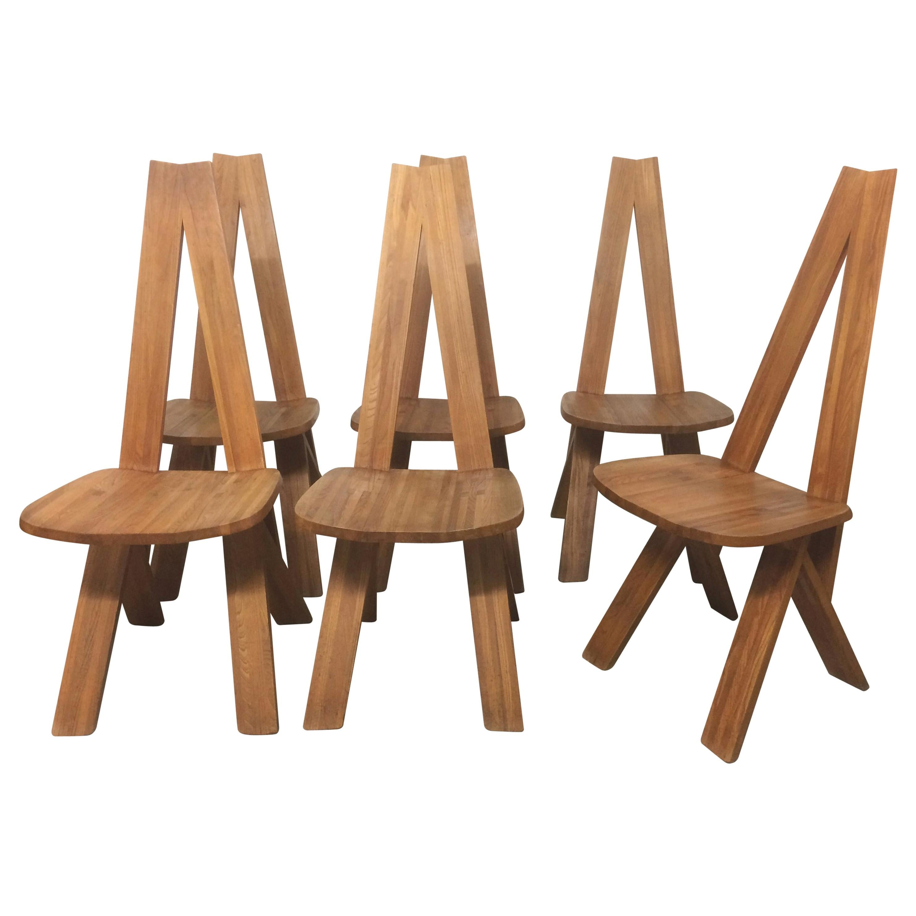 Set of 6 S45 Solid Elm Dining Chair by Pierre Chapo, France, circa 1960s