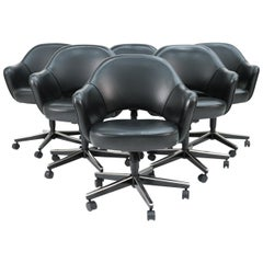 Set of 6 Saarinen for Knoll Executive Armchairs in Black Leather w/ Swivel Base