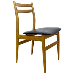 Set of 6 Scandinavian Ashwood Chairs with Black Upholstery