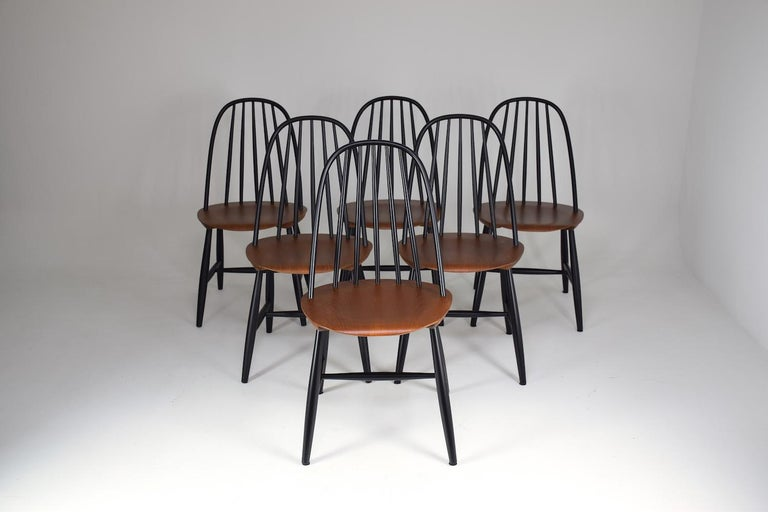 Set of 6 Scandinavian Midcentury Dining Chairs by Hagafors, 1960s In Good Condition For Sale In Paris, FR