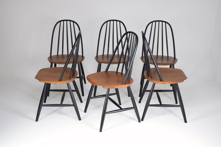 Teak Set of 6 Scandinavian Midcentury Dining Chairs by Hagafors, 1960s For Sale