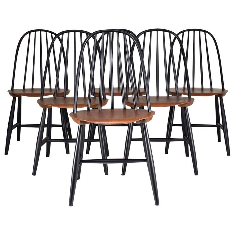 Set of 6 Scandinavian Midcentury Dining Chairs by Hagafors, 1960s For Sale