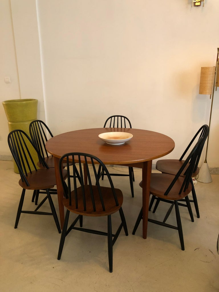 Danish Set of 6 Scandinavian Midcentury Dining Chairs by Hagafors, 1960s For Sale