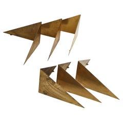 "Set of 6 Scandinavian Modern ""Butterfly"" Shelves in Brass by Poul Cadovius, 1958"