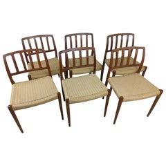 Set of 6 Scandinavian Modern Niels Otto Moller Teak & Woven Seats Dining Chairs