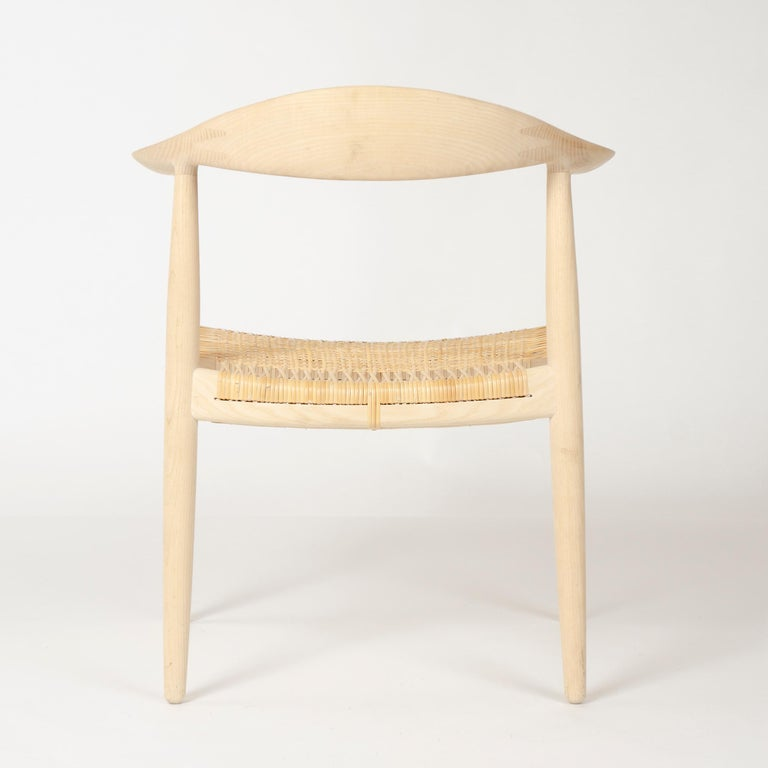 Cane Set of 6 Danish PP501 Round Chairs in Ash by Hans J. Wegner for PP Møbler For Sale