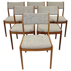 Set of 6 Scandinavian Modern Teak Side Dining Chairs