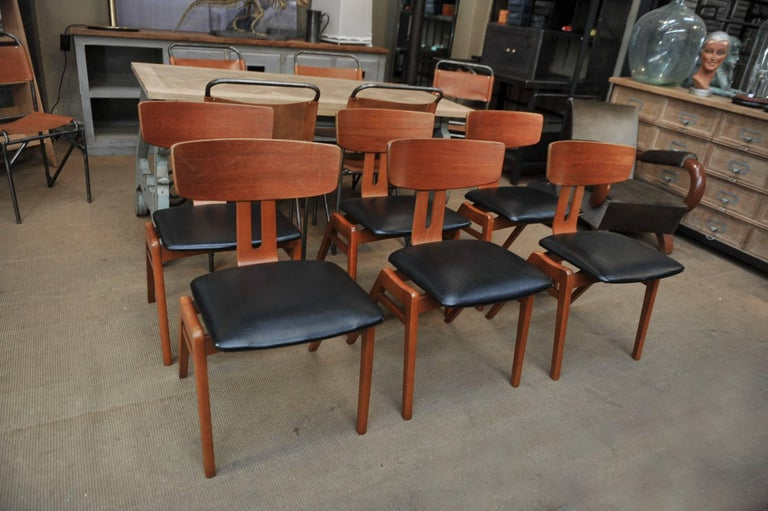 Set of Six Scandinavian Teak Chairs, 1960s For Sale 3