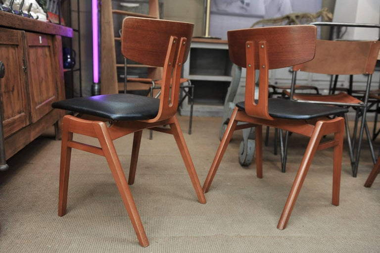 Faux Leather Set of Six Scandinavian Teak Chairs, 1960s For Sale