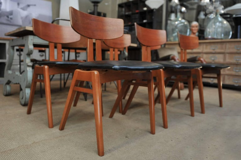 Set of Six Scandinavian Teak Chairs, 1960s For Sale 1