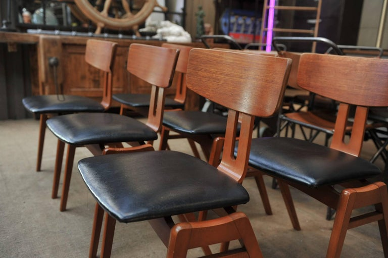 Set of Six Scandinavian Teak Chairs, 1960s For Sale 2