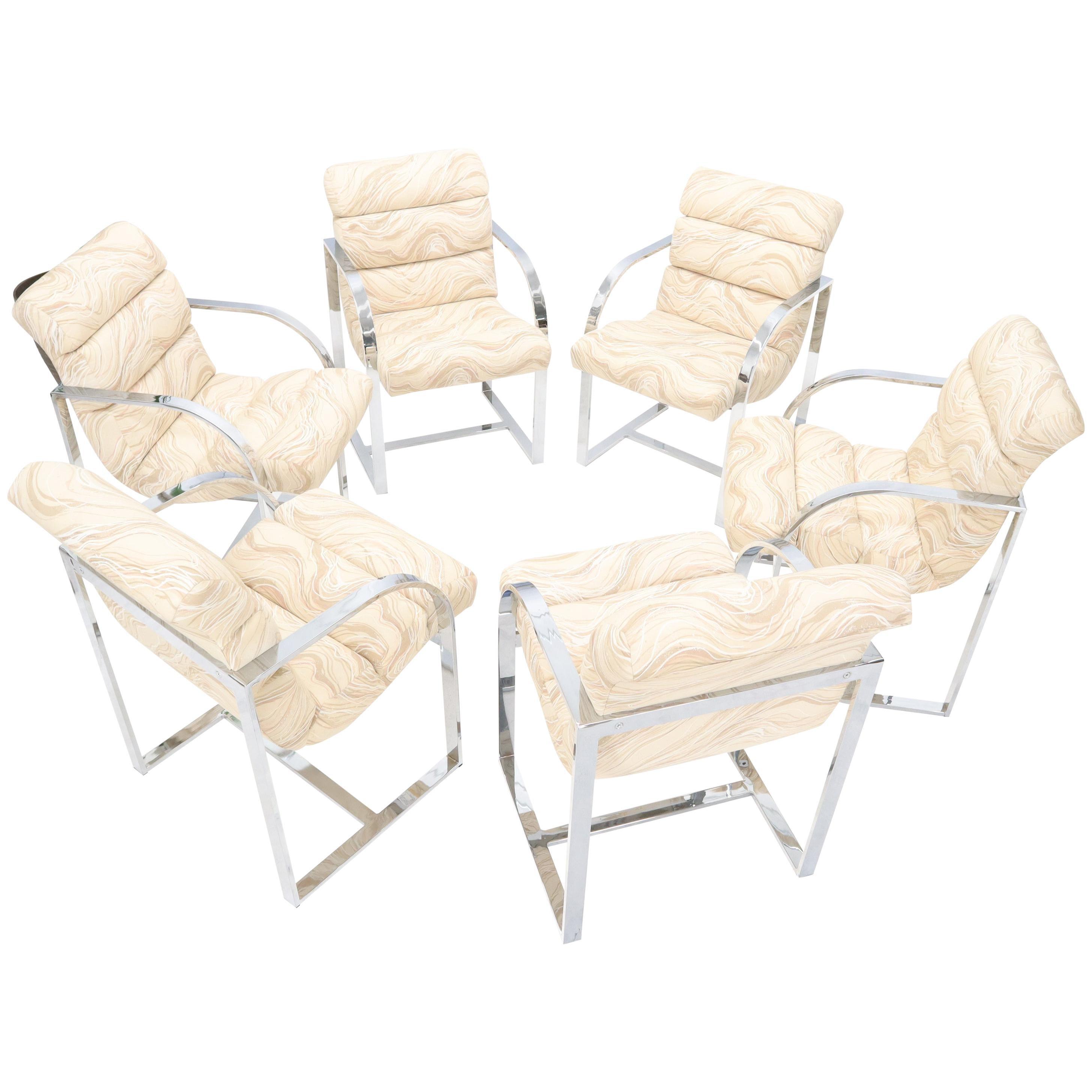 Set of 6 Scoop Shape Seats Chrome Dining Milo Baughman Room Chairs