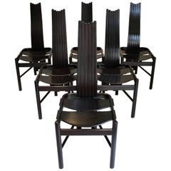 Set of 6 Sculptural Highback Dining Chairs