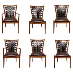 Set of 6 Sculptural Modern Dining Chairs with Woven Leather by Roger Deatherage