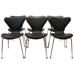 Set of 6 Seven Chairs, Model 3107, Dark Green, by Arne Jacobsen