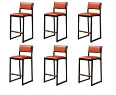 'Set of 6' Shaker Counter Stool Chair by Ambrozia, Walnut & Black Steel
