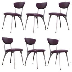 "Set of  6 Shelby Williams Sculptural Aluminum Frame ""Gazelle"" Chairs"