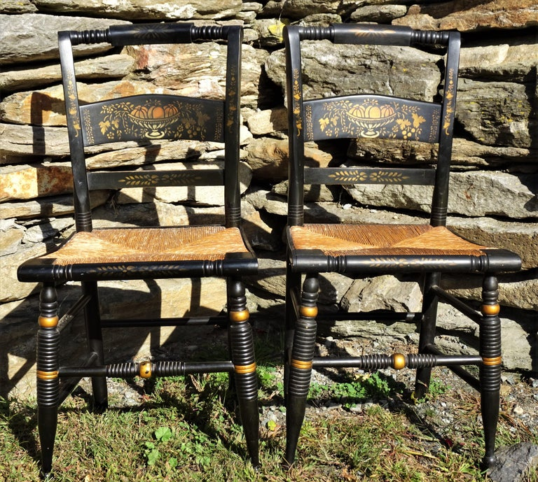 Set of 6 Signed Vintage Hitchcock Painted and Stenciled Side Chairs, circa 1958 For Sale 4
