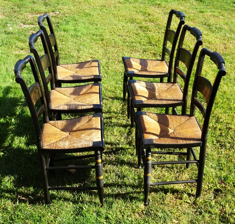 Sheraton Set of 6 Signed Vintage Hitchcock Painted and Stenciled Side Chairs, circa 1958 For Sale
