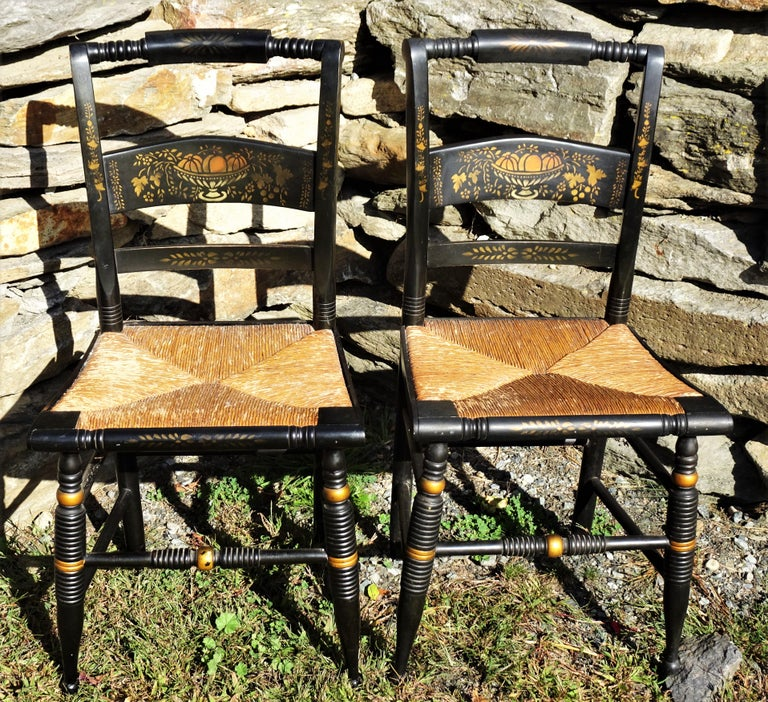 Set of 6 Signed Vintage Hitchcock Painted and Stenciled Side Chairs, circa 1958 For Sale 13