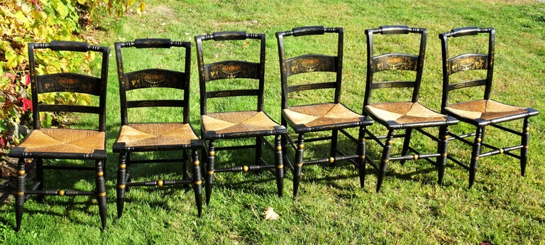 American Set of 6 Signed Vintage Hitchcock Painted and Stenciled Side Chairs, circa 1958 For Sale