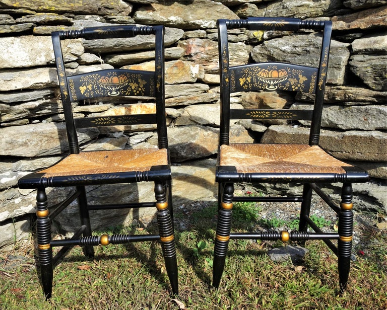 Set of 6 Signed Vintage Hitchcock Painted and Stenciled Side Chairs, circa 1958 For Sale 2