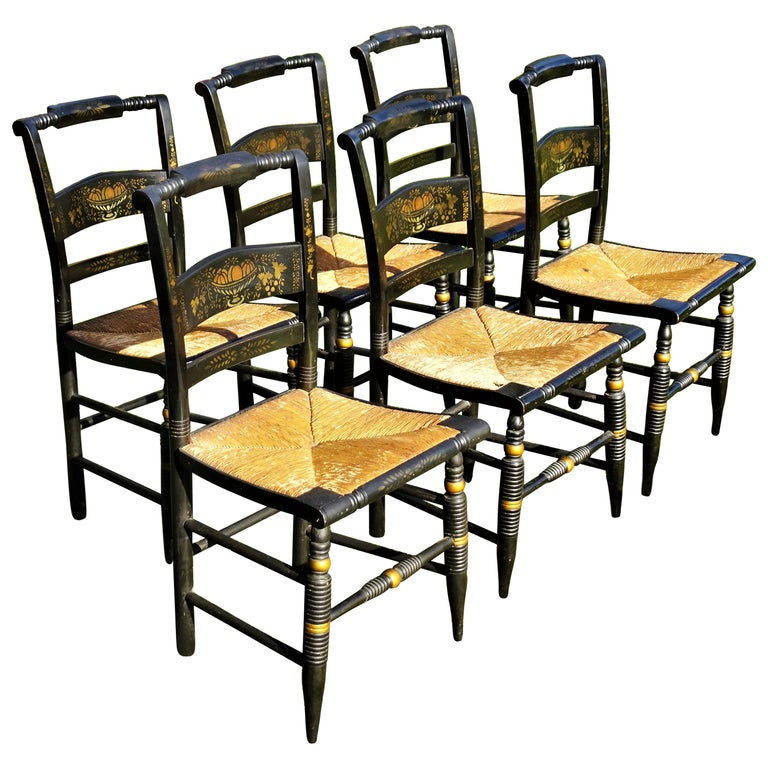 Set of 6 Signed Vintage Hitchcock Painted and Stenciled Side Chairs, circa 1958 For Sale