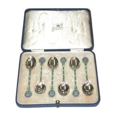 Set of 6 Silver and Enamel Coffee Spoons, Mappin & Webb, 1933, Birmingham
