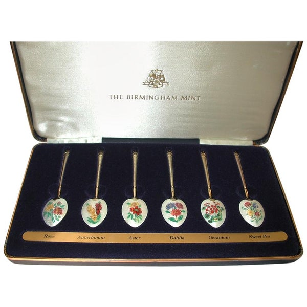 Set of 6 Silver Gilt and Flower Enameled Coffee Spoons, Dated 1978, Birmingham