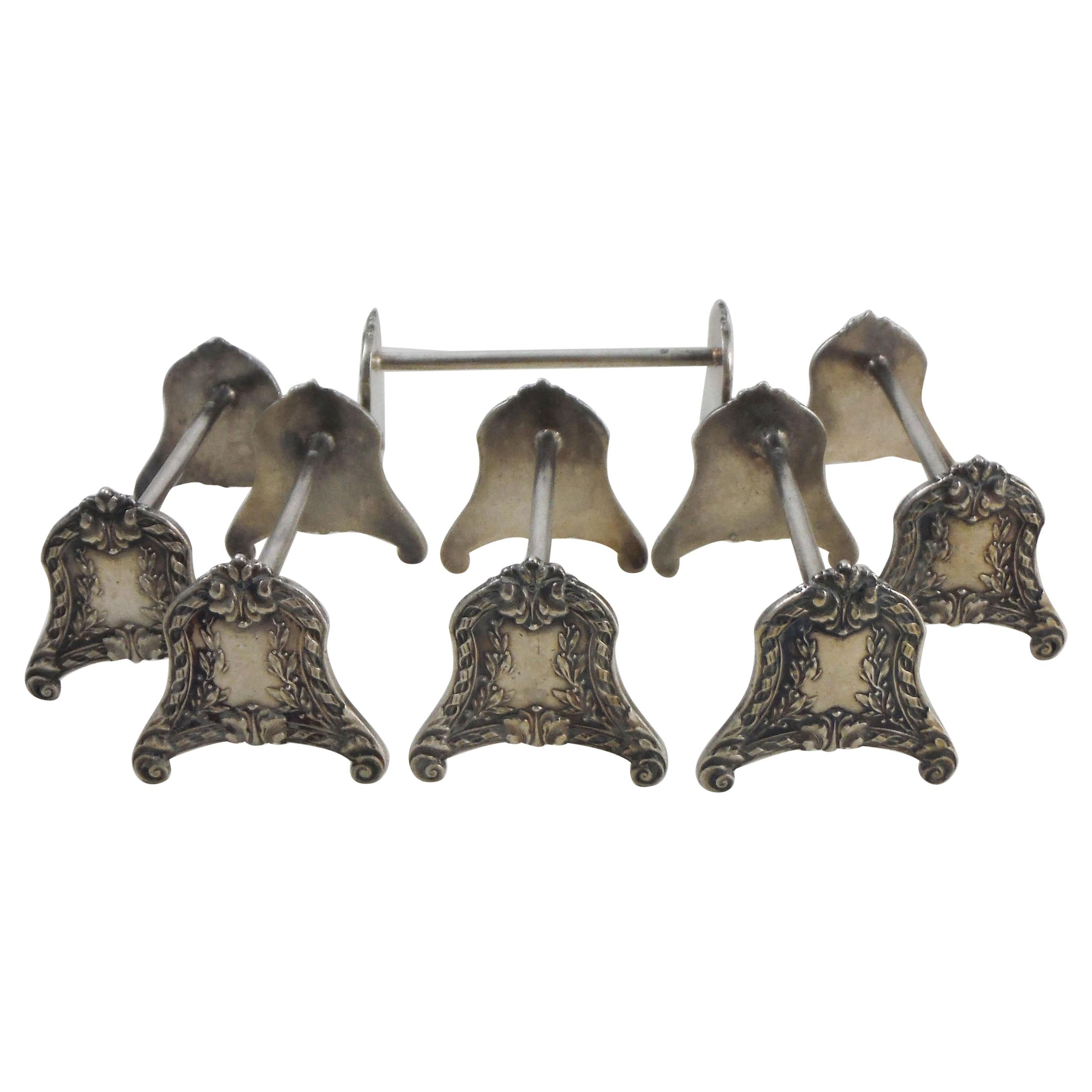 Set of 6 Silver Plate Knife Rests Style Louis XVI, circa 1900