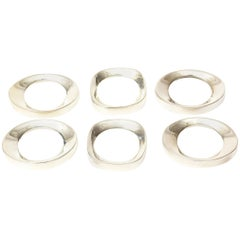Set of 6 Silver Plate Modernist Sculptural Napkin Rings Set of