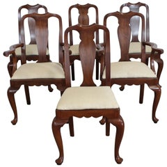 Set of 6 Solid Cherry Henkle Harris Queen Anne Dining Chairs