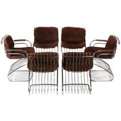Set of 6 Solid Steel Gastone Rinaldi Italian Modernist Dining Chairs for Rima