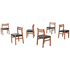 Set of 6 Solid Teak Danish Curved Back Dining Chairs, New Black Vinyl Upholstery