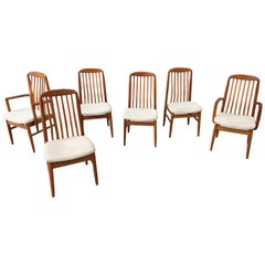 Set of 6 Solid Teak Dining Chairs 2 Armed, 4 Armless