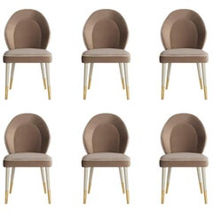 Set of 6 Sophia Dining Chair with Beautiful Back Details and Brushed Brass Tips
