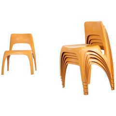 Set of 6 Stackable Chairs, Design by Preben Fabricius, by Interplast, Germany