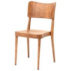 Set of 6 Stackable Dining Chairs Beech and Ply Wood Swiss Production, 1960s