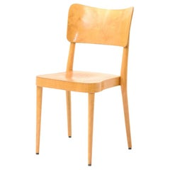 Set of 6 Stackable Dining Chairs Beech and Plywood Swiss Production 1960s