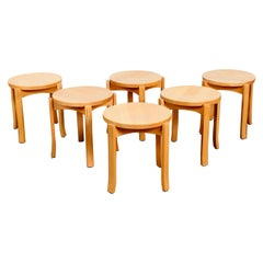 Set of 6 Stacking Beech Stools by Åke Axelsson for Gärsnäs