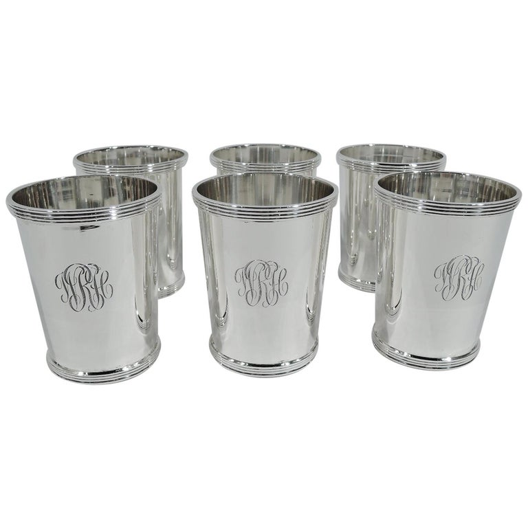 Set of 6 Stieff American Sterling Silver Mint Julep Cups For Sale