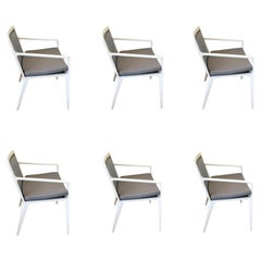 Set of 6 Still Arm Patio Chairs Designed by Richard Frinier for Brown Jordan