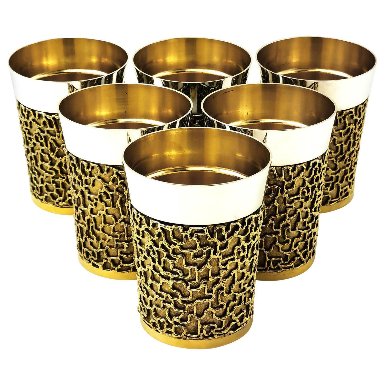 Set of 6 Stuart Devlin Sterling Silver Gilt Beakers / Cups, 1968-1969