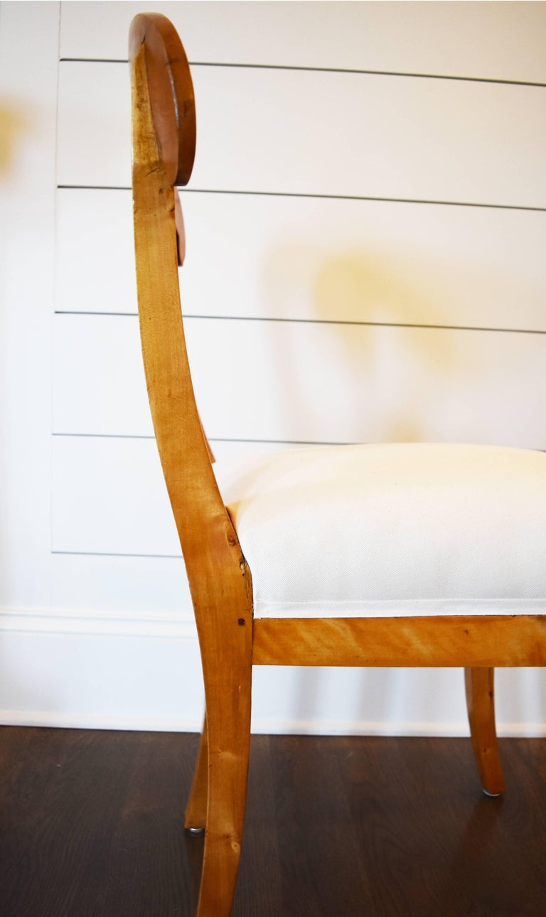 Birch Set of Six Swedish Biedermeier Dining Chairs For Sale