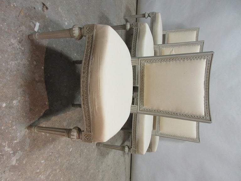 This is a set of 6 Swedish Gustavian side chairs, they have been restored and repainted with Milk Paints