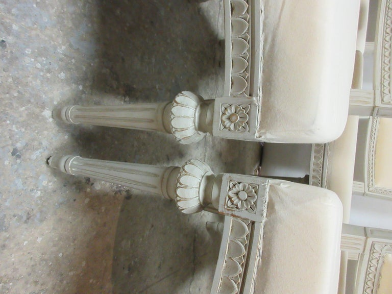 Wood Set of 6 Swedish Gustavian Side Chairs For Sale