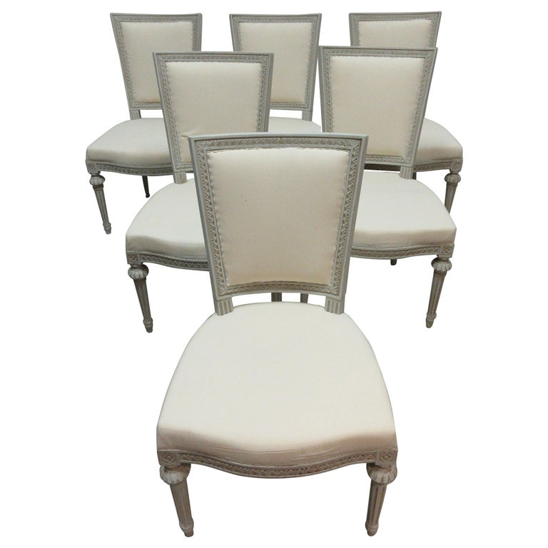 Set of 6 Swedish Gustavian Side Chairs For Sale